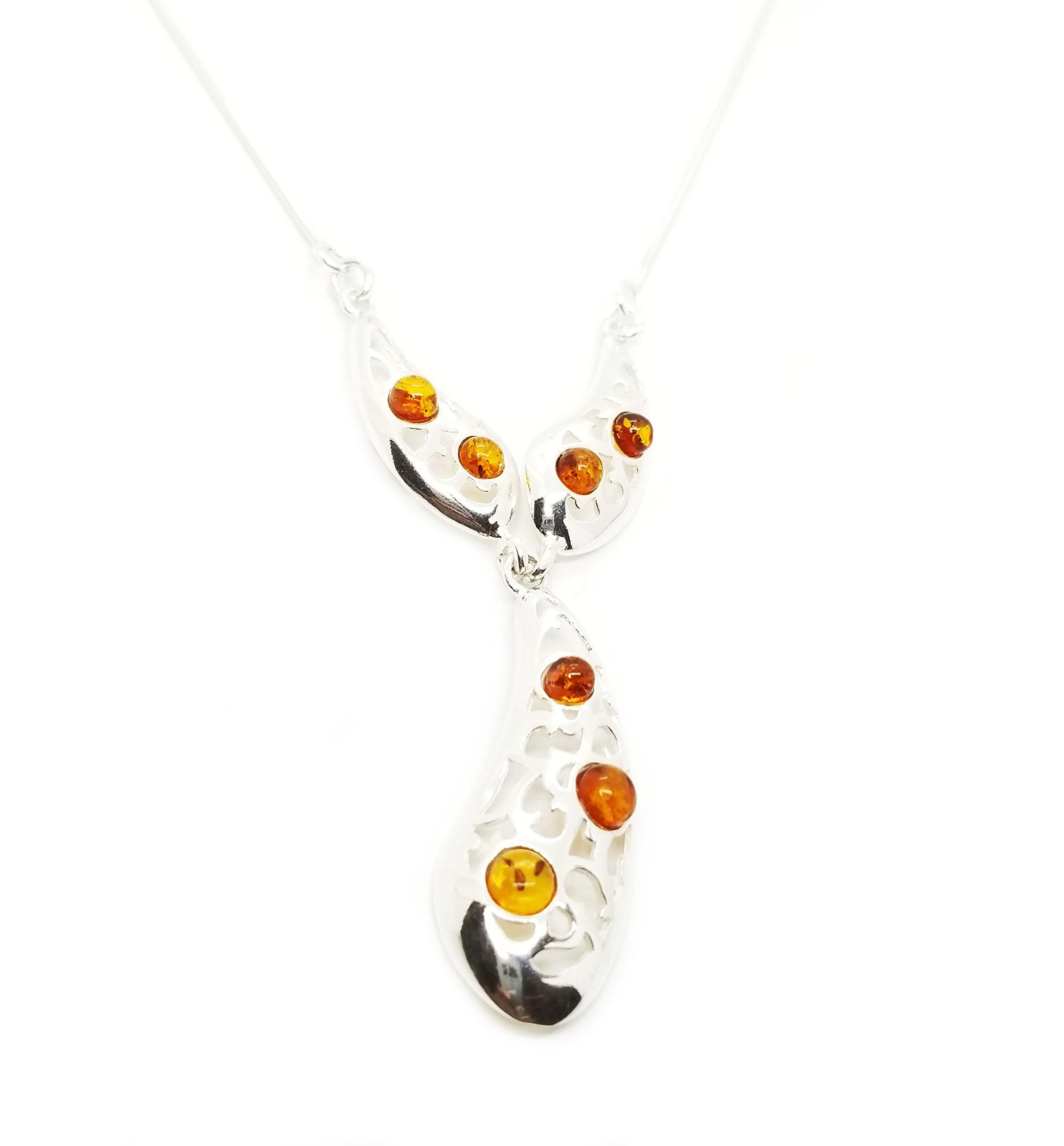 Cognac Amber Filigree Silver Necklace