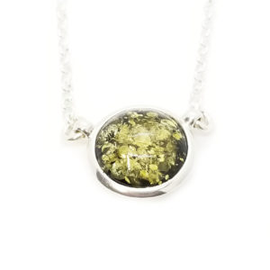 Round Stone Green Amber Necklace Sterling Silver