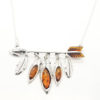 Arrow Amber Silver Necklace