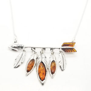 Arrow Amber Silver Necklace