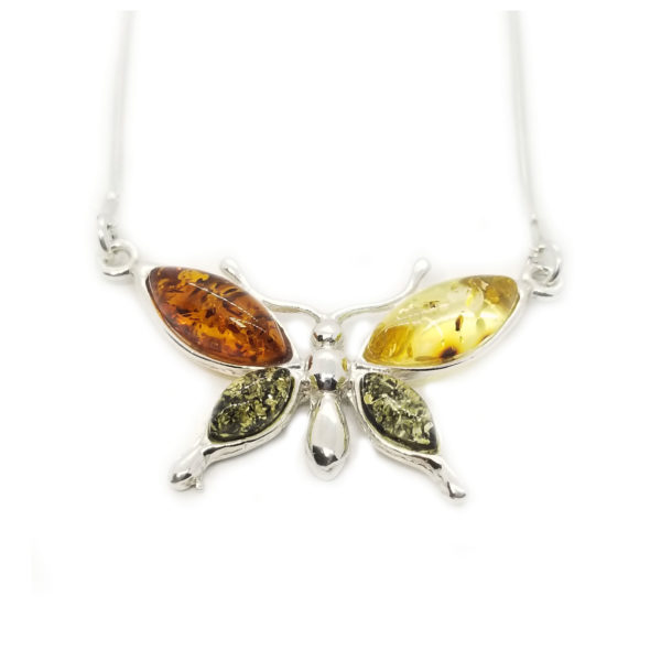 Butterfly/Dragonfly Multicolor Amber Necklace