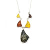 Multicolor Amber Sterling Silver Necklace