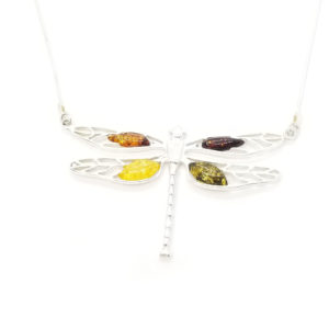 Dragonfly Amber /Silver Necklace