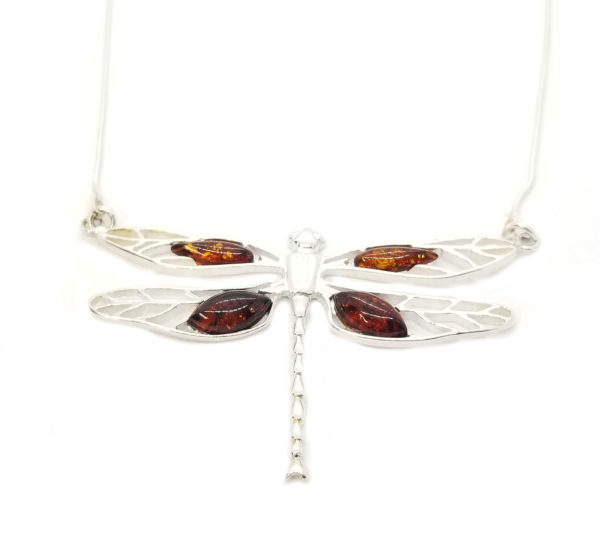Cognac Dragonfly Amber Necklace
