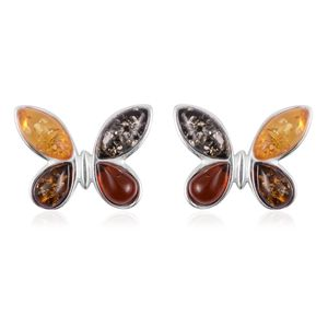 Butterfly Multicolor Amber Stud Earrings