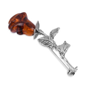 Carved Rose Amber Brooch/Pin