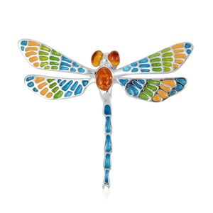 Art Deco Amber Enamel Dragonfly Pendant
