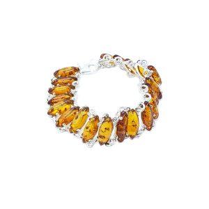 Cognac Amber Marquise Link Bracelet