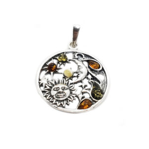 Sun Moon and Stars Amber Pendant Oxidized Silver