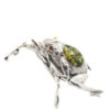 Frog Green Amber Silver Necklace