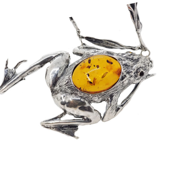 Frog Cognac Amber Sterling Silver Necklace