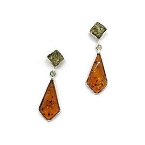 Baltic Amber Post Dangle Earrings