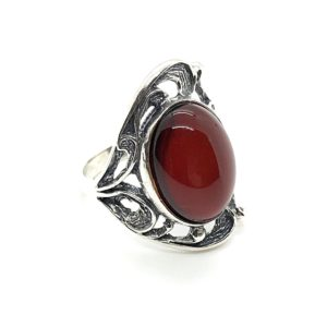 Oval shaped cherry color amber stone set in 925 sterling silver, genuine Baltic amber ring.
