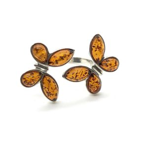 Butterfly Amber Adjustable Ring