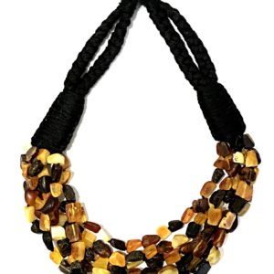 Raw Amber Bead Necklace. Amber jewelry. on a Rope