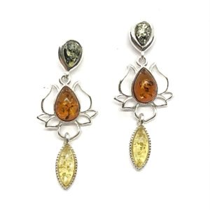 """Lotus"" Multicolor Amber Post Dangle Earrings"