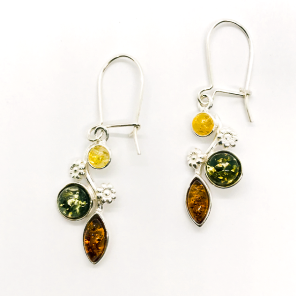 Amber Earrings with Silver Flowers