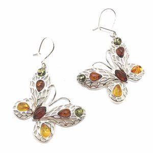 Butterfly Multicolor Amber Earrings