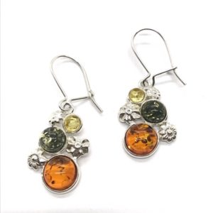Multicolor Amber /Sterling Silver Earrings