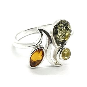 Multi Color Amber /.925 Silver Ring