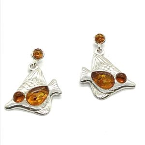 "Amber / Silver ""Fish"" Post Dangle Earrings"