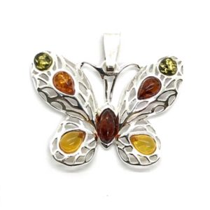 Butterfly Amber .925 Silver Pendant. Multi color round. Marquise. oval, round and teardrop shaped stones set in .925 sterling silver.