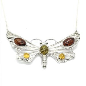 Dragonfly/ Butterfly Amber Silver Necklace