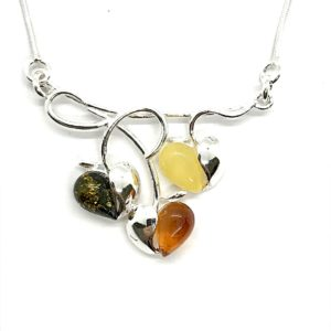 Hearts Amber/Sterling Silver Necklace