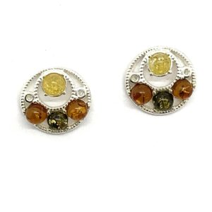 Multicolor Amber .925 Silver Earrings