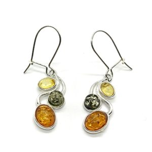 Multicolor Amber Earrings .925 Silver Hooks