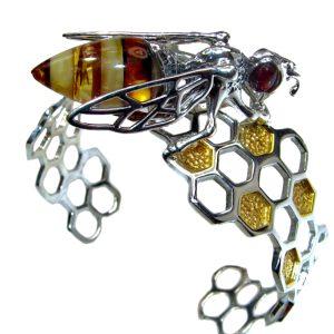 Bee on Honeycomb Open Bracelet.