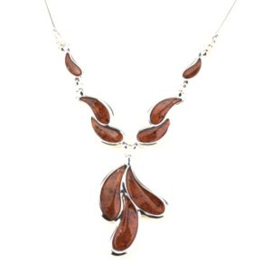 Curved Teardrop Amber Necklace