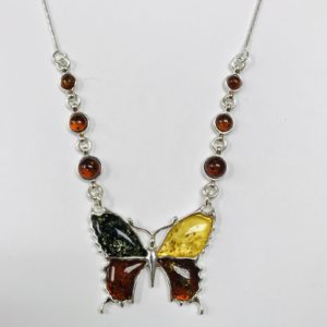 Butterfly Multicolor Amber Necklace 925