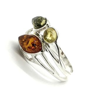 Marquise /Round Amber Stones Ring