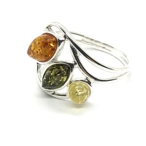 Wave Style Amber/925 Silver Ring