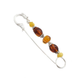 Multicolor Amber Safety Pin /Brooch