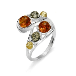 Genuine Amber/ Sterling Silver Ring