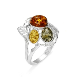 Amber /Leaf Design Silver Ring