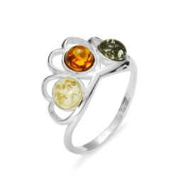 Amber /Silver Hearts Ring