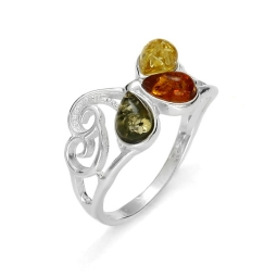 Baltic Amber Filigree .925 Silver Ring