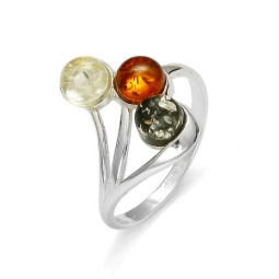 Three-Stone Multi color Amber Ring.