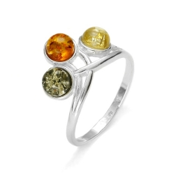 Three-Stone Amber /925 Silver Ring