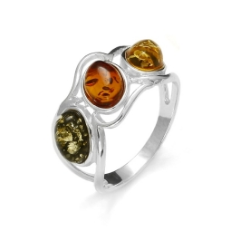 Oval Amber / Sterling Silver Ring