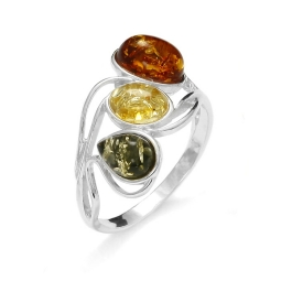 Wave style Amber /Sterling Silver Ring
