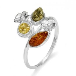Amber / Flower Design Silver Ring