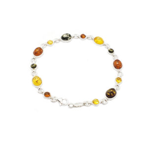 Multicolor Amber Oval and Round Link/Tennis Bracelet