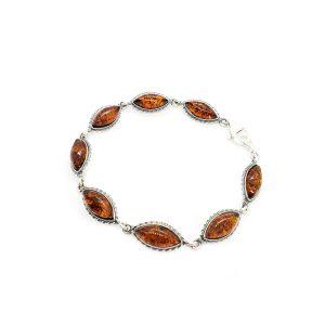 Cognac Amber Marquise Link/Tennis Bracelet
