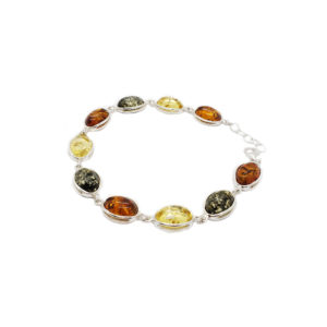 Multicolor Amber Oval Link/Tennis Bracelet