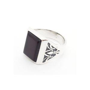 Cherry Amber Men's Ring with Fleur-de-lis