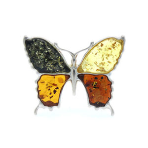 Multicolor Amber Butterfly Brooch/Pin